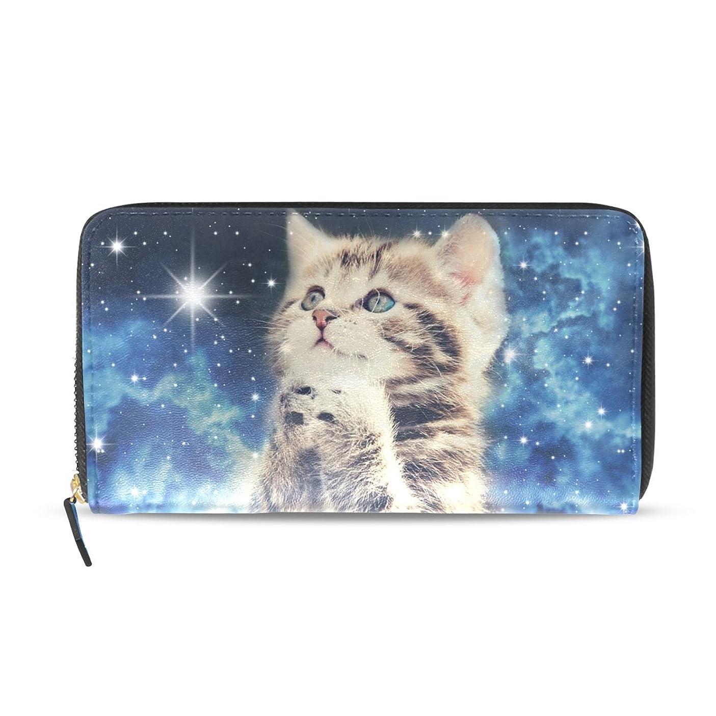 平和的完全に不従順GORIRA(ゴリラ) 祈る子猫 星空 長財布 レディース ダブルサイド印刷 ファスナー開閉式 ウォレット