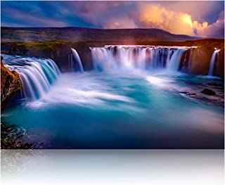 Omni Studio - Iceland Godafoss Waterfall - Nature Landscape Canvas Wall Art - Modern Home Décor - Stretched & Ready to Hang - (30x20 inches)
