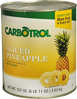 Carbotrol #10 Juice Packed Canned Fruit, Sliced Pineapple (6 - 107oz Cans per Case)