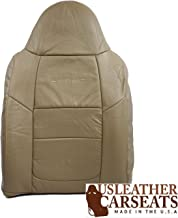 USLeatherCarSeats Compatible with 2001 Ford F-350 Lariat 4X4 Dually Crew 7.3L Diesel Lifted Power Stroke Driver Lean Back Perforated Leather Seat Cover Tan