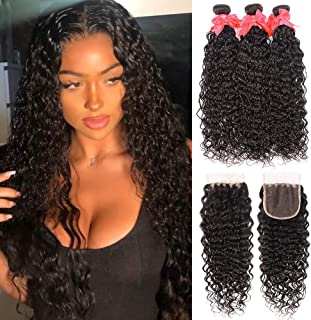 Brazilian Water Wave Bundles with Closure (12 14 16+10) 100% Unprocessed Nutural Wave 3 Bundles with Closure 4x4 Free Part Wet and Wavy Curly Wave Hair Extensions