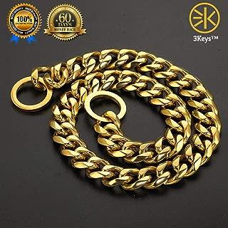 3Keys™ Brass Heavy Duty Diamond Cut Gold Cat Dog Choke Chain Training Dog Collar (Large)