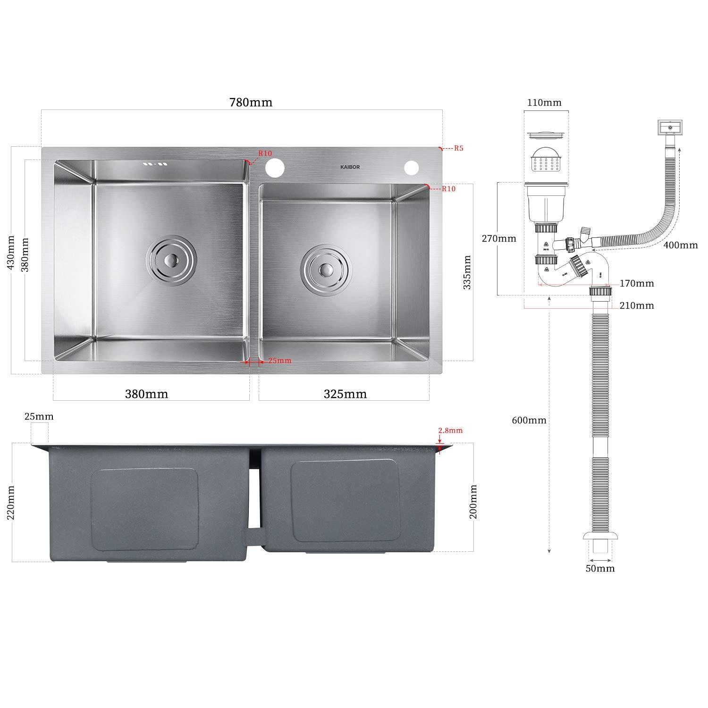 KAIBOR fregadero cocina dos senos con escurridor y sifón rebosadero 78x43x20cm fregaderos de cocina acero inoxidable 304, sobre encimera o enrasado: Amazon.es: Bricolaje y herramientas
