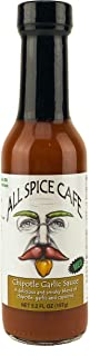 Gourmet Hot Sauce, Chipotle Garlic -ALL SPICE CAFÉ - Smoky Blend of Chipotle, Garlic, & Cayenne. (Medium Spice) Delicious with BBQ favorites. 5 Ounce Bottle, (Pack of 1)