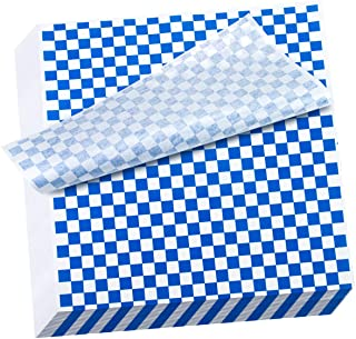 Hslife 100 Sheets Blue and White Checkered Dry Waxed Deli Paper Sheets, Paper Liners for Plasic Food Basket, Wrapping Brea...