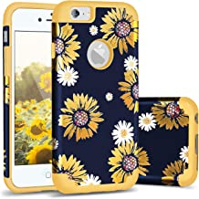 Casewind iPhone 6 Case,iPhone 6s Case, iPhone 6/6s Case Sunflower Daisy Design Hard PC Soft Silicone Dual Layer Hybrid Protection TPU Rugged Bumper Shockproof Anti-Scratch Case for iPhone 6s,Yellow