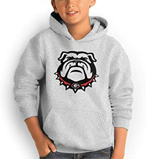 Youth Hoodie Georgia Bulldogs 100% Cotton Casual Long Sleeve Sweatshirt Pullover with Pockets for Boys and Girls
