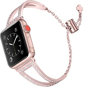 Secbolt Bling Bands Compatible with Apple Watch Band 42mm 44mm Iwatch Series 5/4/3/2/1, Women Stainless Steel Metal Dress Jewelry Bracelet Bangle Wristband, Rose Gold