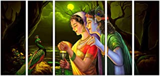 Art Amori Lord Krishna With Radha set of 5 MDF PaintingMulticolour 12x18 Inch - 1 Piece + 6x18 Inch-4 pieces for Wall Pain...