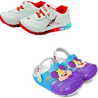 Fashion shoes Kids Unisex Synthetic Leather LED Shoes & Clogs Combo for Boys and Girls…
