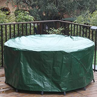 Outdoor Rattan Furniture Covers Round Patio Table Cover Waterproof - Garden Furniture Set Covers Circular for Patio Table ...