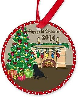 CafePress 2014 Black Lab 1St Christmas Round Christmas Ornament