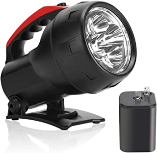 High Powered LED Hand-Held Flashlight 6V Battery Included, Super Bright Searchlight 600 Lumens Outdoor Work Light with Fol...