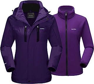 MAGCOMSEN Women`s 3-in-1 Winter Ski Jacket with Detachable Hood Water Resistant Fleece Lining Snow Jacket Parka Coat