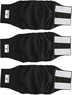 Pet Parents Premium Washable Dog Belly Bands (3pack) of Male Dog Diapers, Dog Marking Male Dog Wraps X-Small Black 11276422