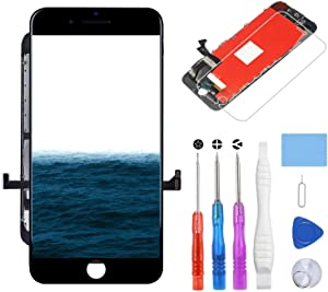 YPLANG for iPhone 7 Screen Replacement Black 4.7 inch, LCD Display and 3D Touch Screen Replacement Digitizer Frame Assembly with Repair Tools Kit