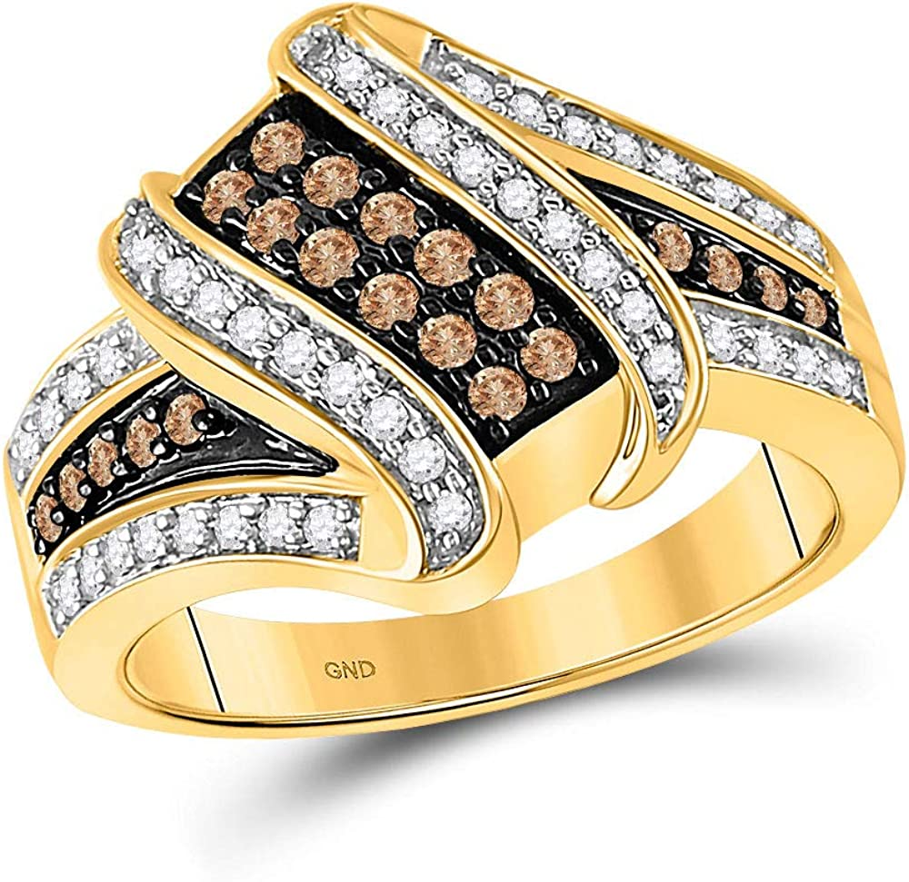 10kt Yellow Surprise price Gold Womens Round Brown C 2 Diamond Crossover 40% OFF Cheap Sale 1 Ring