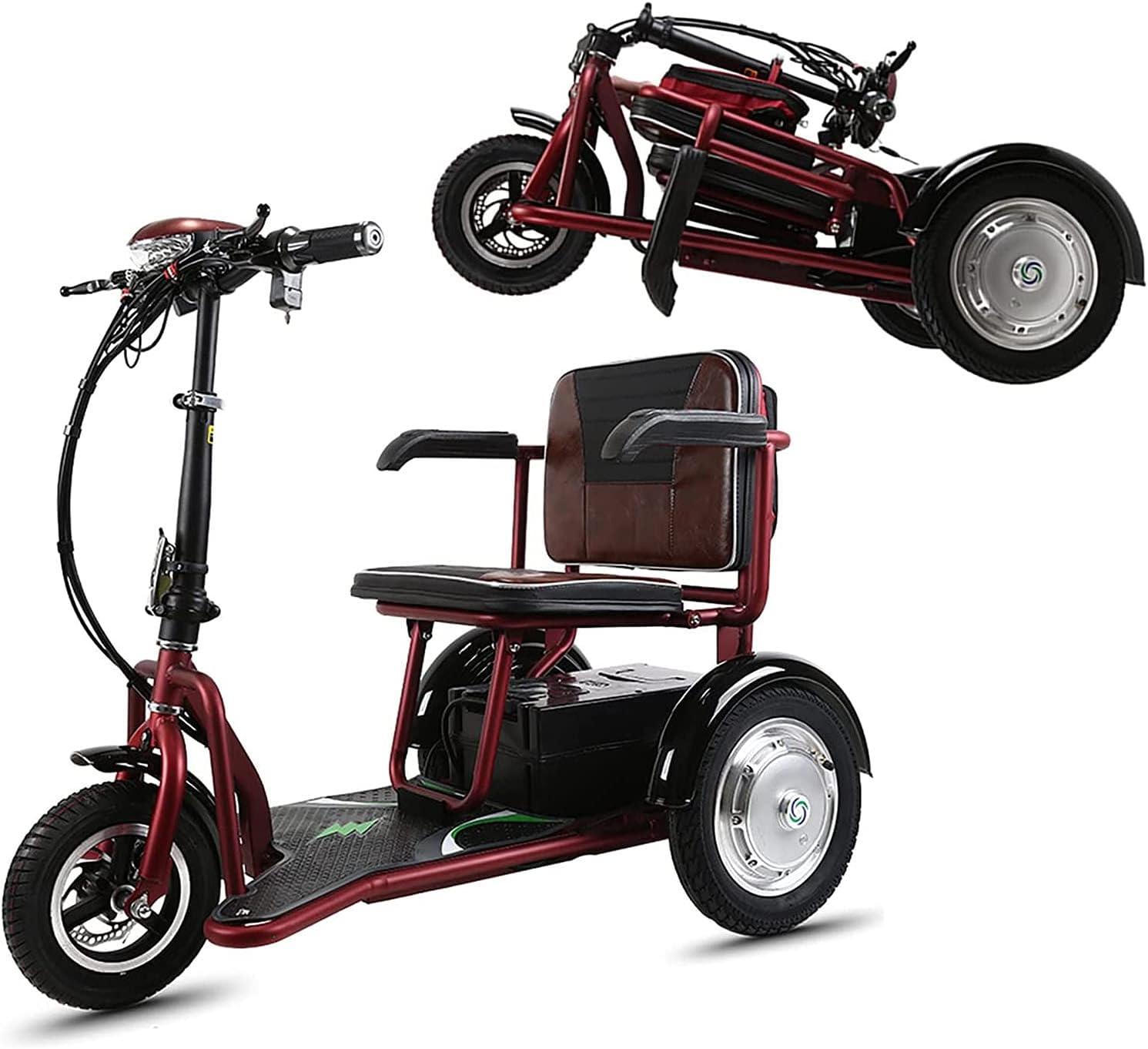 Scooters De Movilidad Plegables Eléctrico Ligero Portátil De 3 Ruedas Sillas De Ruedas Móviles Eléctricas Compacto Triciclo De Viaje con Ajuste De 3 Velocidades Scooters con Asiento
