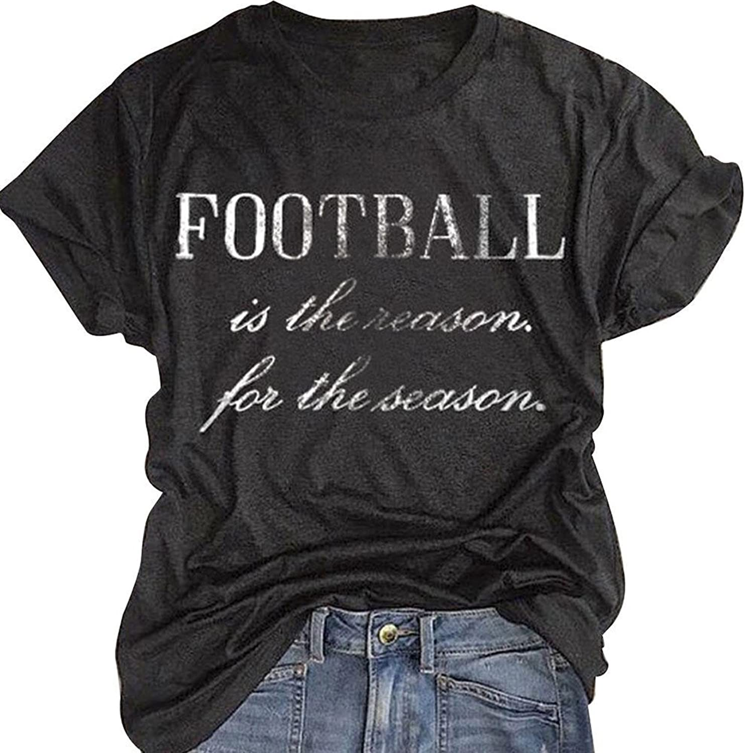FAYALEQ Football is The Reason for The Season TShirt Women Letter Print Top Casual Tees