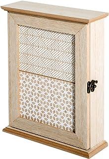HOMCOM Caja Llavero de Pared Tipo Armario de Madera para Llaves con 6 Ganchos Estilo Vintage 20x6.5x26.5cm