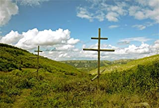 5x3ft Wooden Cross On Mountain Meadow Backdrop Orthodox Christian Cemetery Crucifix Outdoor Rural Landscape Photography Background Jesus Christ Photo Studio Props Religion Culture Wallpaper