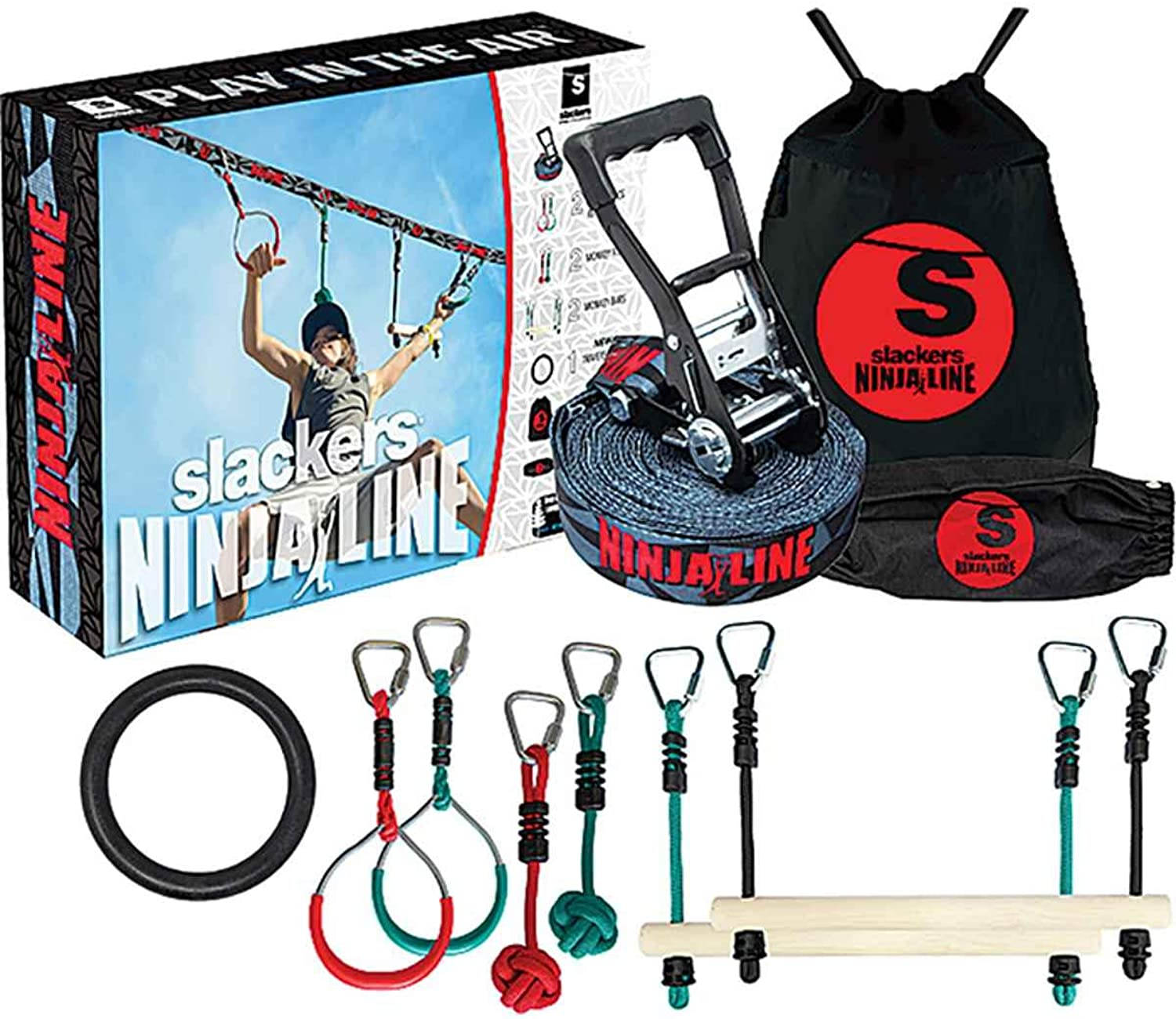 Slackers Ninjaline 36' Intro Kit with 7 Hanging Obstacles, Black