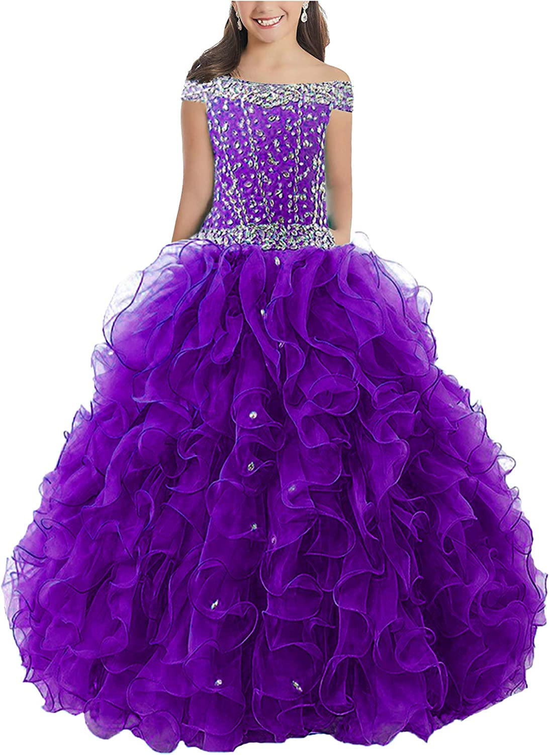 Junguan Off The Shoulder Pageant Dresses for Girls Long Aline Ruffles Princess Prom Dress Formal Ball Gowns TF003