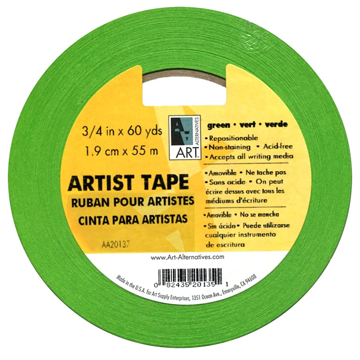Artists Tape Green 3/4In X 60Yds