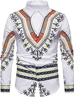 Mens Casual Dress Shirts African Dashiki Floral Pattern Print