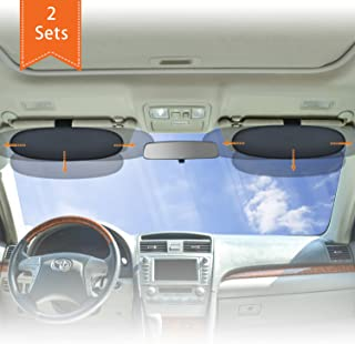 WANPOOL Anti Blendschutz für Auto Visier Sonnenblenden Verlängerung für den Fahrer und Passierie auf dem Vordersitz (Silber)   2 Stück