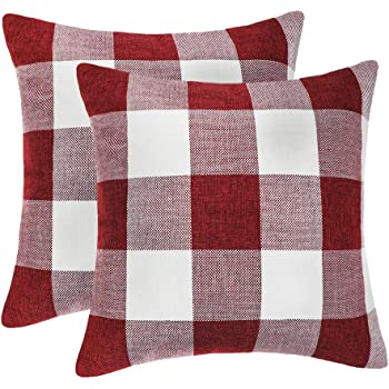 4TH Emotion Set of 2 Farmhouse Buffalo Check Plaid Throw Pillow Covers Cushion Case Cotton Linen for Christmas Home Decor Red and White, 18 x 18 Inches