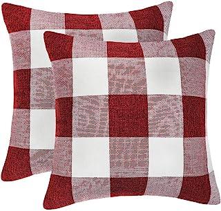 4TH Emotion Set of 2 Farmhouse Buffalo Check Plaid Throw Pillow Covers Cushion Case..