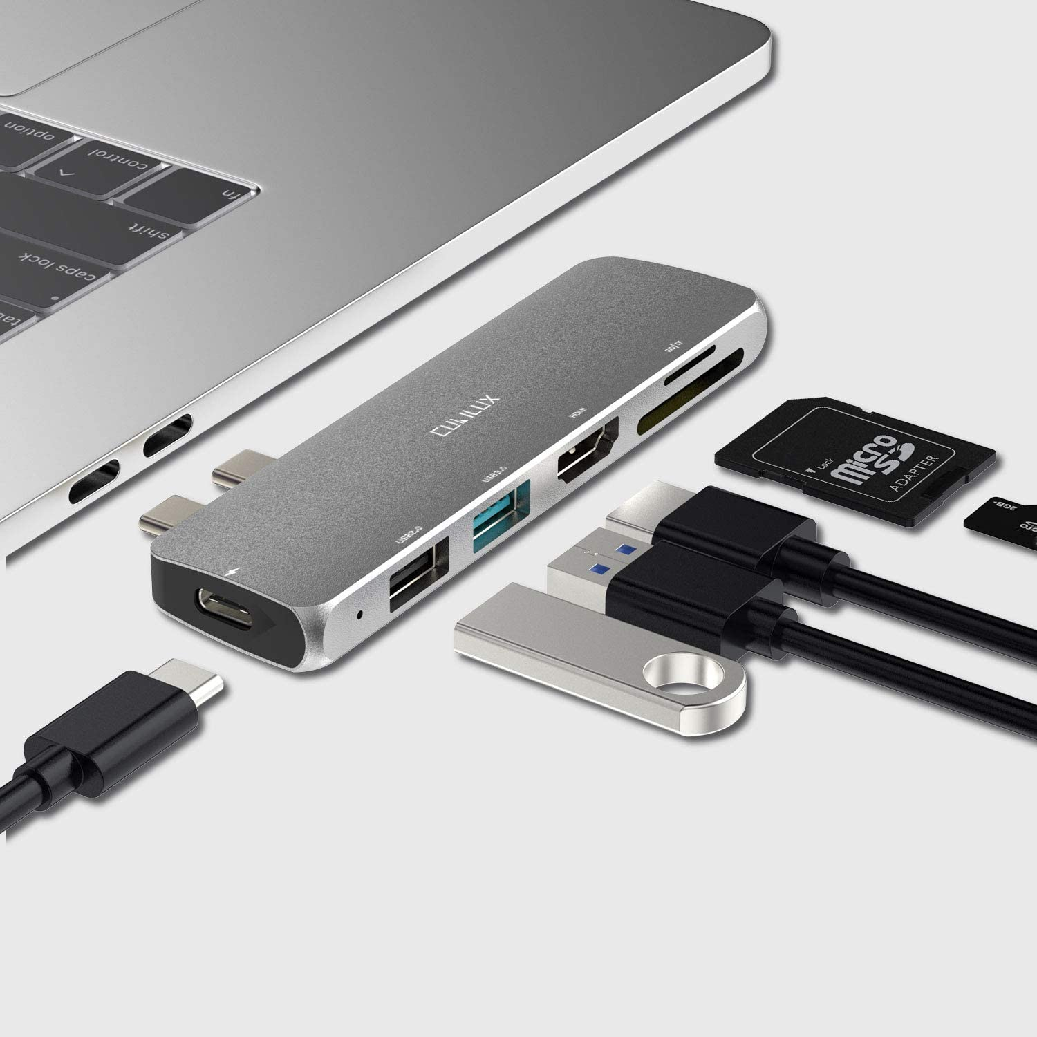 Cubilux 6-in-1 USB C to HDMI/USB/SD/TF Card Reader/ 100W PD Charging Multiport Docking Station/HUB Compatible with 2020/2019/2018/2017/2016 MacBook Pro (M1 Chip), 1 x USB 3.0, 1 x USB 2.0