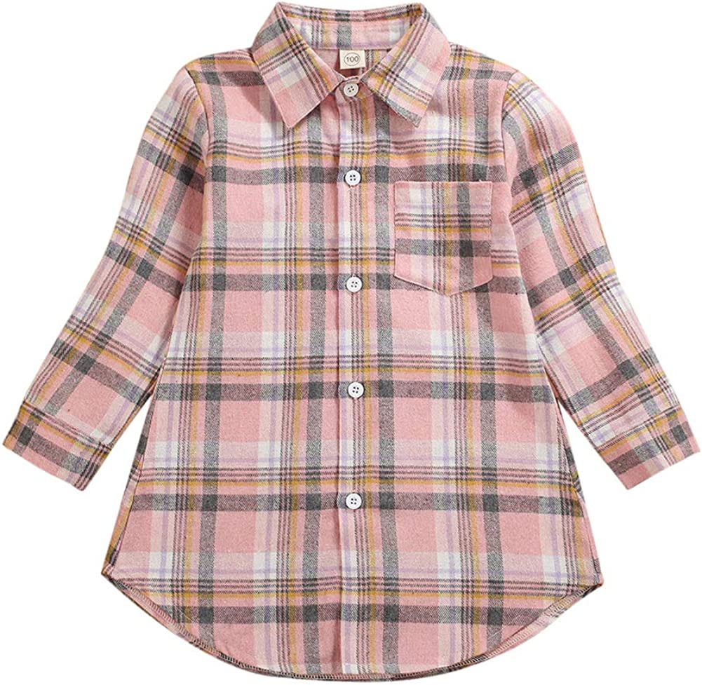 Toddler Baby Plaid Shirt Kids Boy Girl Long Sleeve Check Button Down Collared Blouse Top Fall Outfits Clothes