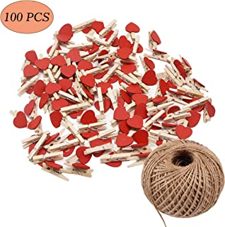GHIFANT 100pcs Mini Photo Clips Clothespins DIY Picture Frames Heart Shaped Natural Wooden Clip Photo Holders with 100 Yard Jute Twine
