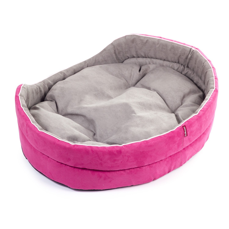 Boutique Zoo • cama para perros rosa/gris, alcantara • para pequeñas, Medianas y grandes, medianas perros (S, M, L, XL, XXL, XXXL) • Dos Piezas, lavables, Auto (de 43 x 36 cm