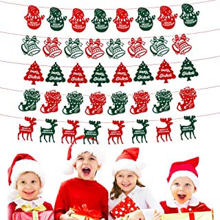 5 Styles Christmas Banner Christmas Tree Snowman Bell Snowflake Socks for Christmas Decoration DIY Craft Celebrate a Holiday Mardi Gras Party Supplies