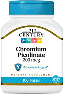 21st Century Chromium Picolinate 200 mcg Tablets, 100 Count (Pack of 3)
