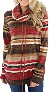 BLENCOT Womens Cowl Neck Striped Long Sleeve Sweatshirt Drawstring Casual Pullover