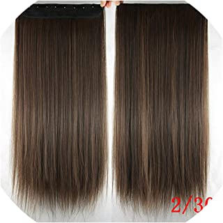 betterluse Long Straight Black to Gray Natural Color Women Ombre Hair High Temperature Synthetic Hair Piece Clip in Hair Extensions,Green,24inches