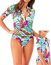 YOLIPULI Mother and Daughter Long Sleeve Zip Rashguard UV-Protection Surfing-Suit Swimwear : Print Family Matching Swimsuit