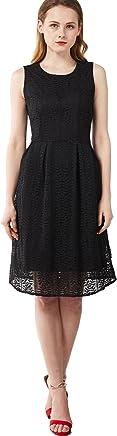 chouyatou Women's Vintage Slim Fit and Flare Lace Sleeveless Dress
