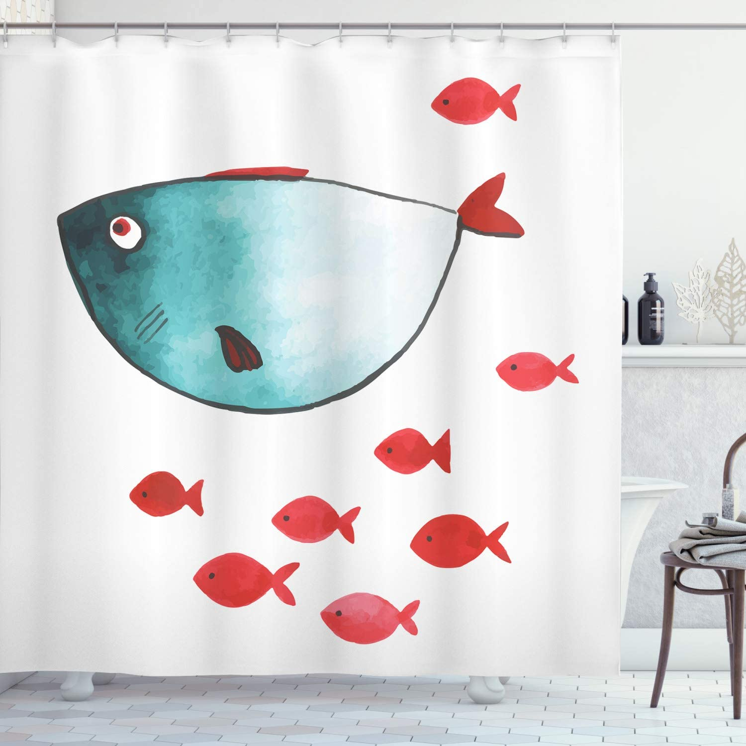 Amazon Com Ambesonne Nursery Shower Curtain Fish With Little Underwater Aquatic Life Kids Girls Boys Nursery Theme Cloth Fabric Bathroom Decor Set With Hooks 70 Long Vermilion Teal Home Kitchen