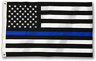 Thin Blue Line American Flag, Sewn & Embroidered (2 x 3 Feet, Thin Blue Line)