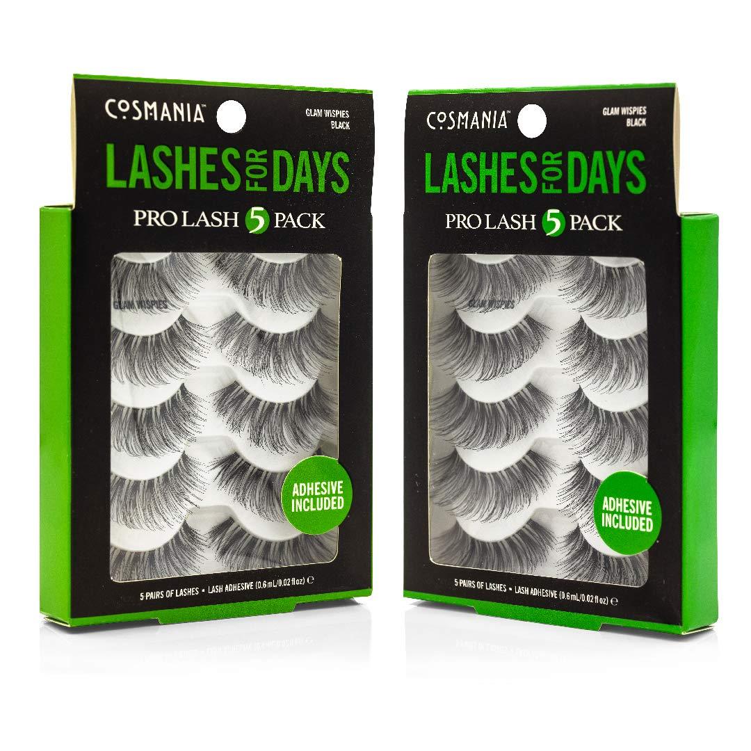 Cosmania Lashes for Days False Eyelashes, 10 Pairs | Adhesive Included (Glam Wispies)