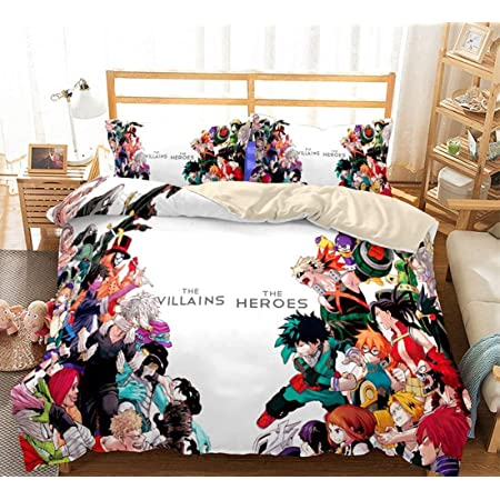 No Comforter ZYLD My Hero Academia Bed Set Twin Size Anime Bedding Sets 3pcs Anime Comforter Set for Girls Boys Kids Teenage Cartoon Duvet Cover Set 3D Pattern 1 Quilt Cover with 2 Pillowcases