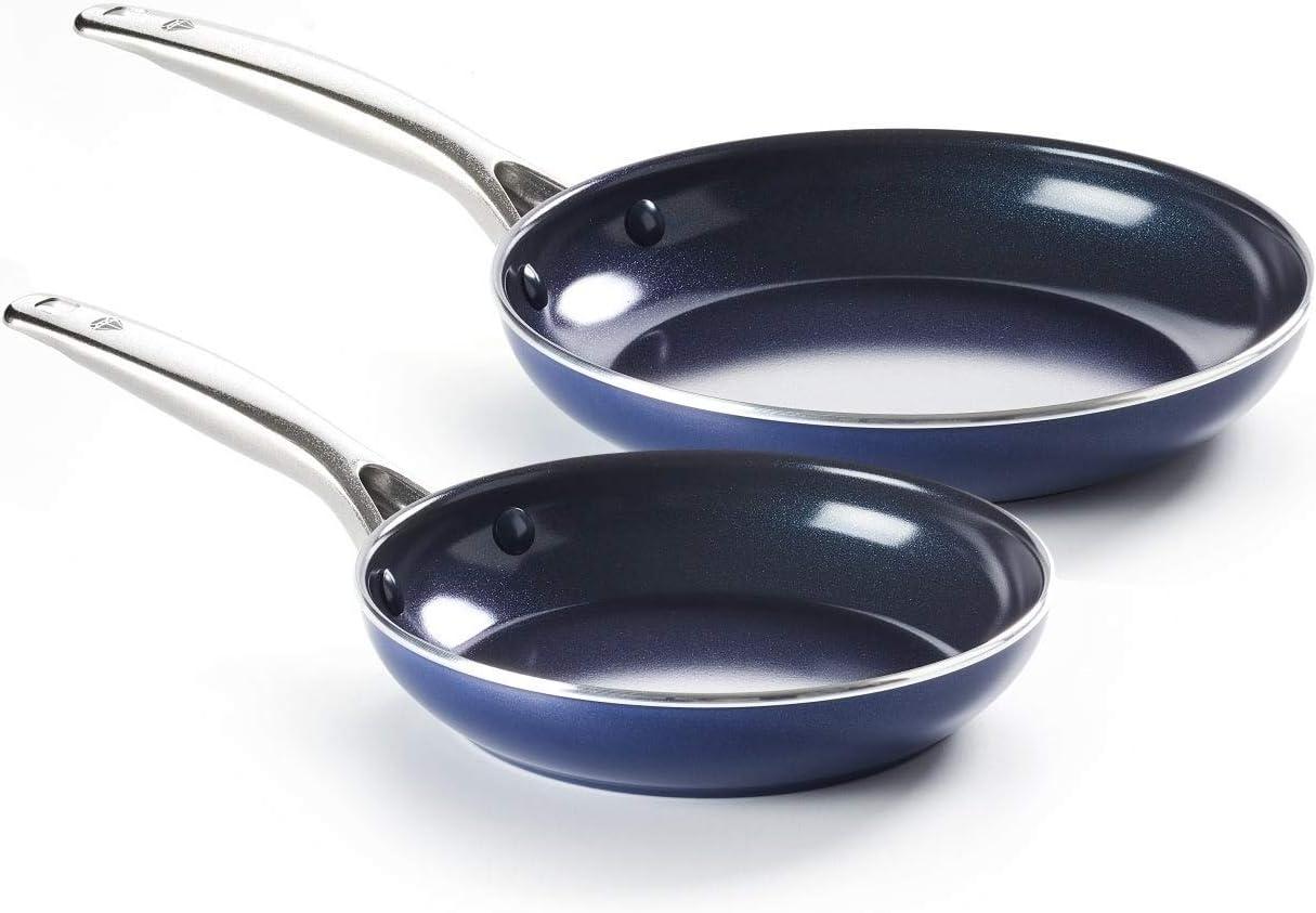 Blue Diamond Toxin-Free 2 Mail order Piece Max 73% OFF Pan Set Non-Stick Ceramic Frying