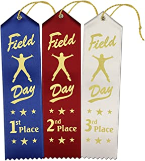 Field Day Award Ribbons: 150 Count Value Bundle 50 Each 1st Place (Blue), 2nd Place (Red), 3rd Place (White) with Event Card and String – Made in The USA