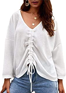 Women Long Sleeve Blouse Solid Color Drawstring Front V Neck T Shirts Top