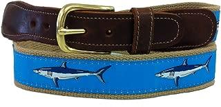 Men's Preston Leather Ribbon Light Blue & Mako Khaki Shark Belt